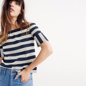 Madewell Off The Shoulder Gray & Blue Striped Top